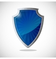Glossy shield protection icon in blue and silver vector image