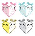 Cute rabbits-hearts vector image