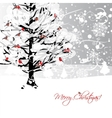 Christmas card design with winter tree and vector image vector image
