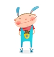 Little boy with bear cub funny cute toy in pocket vector image