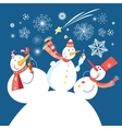 Christmas card with a cheerful snowman vector image vector image