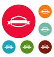badge banner icons circle set vector image