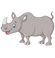 Cartoon happy rhino standing isolated vector image