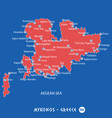 island of mykonos in greece red map vector image