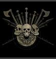 ragnarok viking design three skulls of vikings vector image