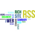 word cloud rss vector image