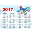 Blue Rooster on snowboard Calendar with cock vector image