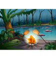 A bonfire in a jungle vector image vector image