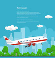 poster airplane flies to the east vector image