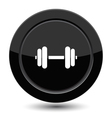 Glossy black dumbbell button vector image vector image