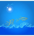 abstract sea and fish with screamed background vector image