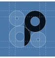 Round engineering font Symbol P vector image