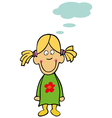 funny little girl with bubble speech vector image vector image