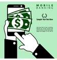 Fast money and mobile equipment in hand vector image