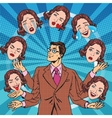Retro man juggles the emotions of women vector image
