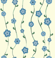 Blue flowers pattern with stalk and leaves vector image