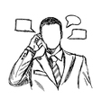businessman using mobile telephone vector image