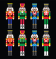 Christmas nutcracker - soldier figurine icons set vector image