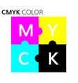 cmyk color scheme puzzle vector image