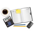 dairy with business supplies vector image