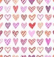 Hand drawn seamless pattern with doodle hearts vector image
