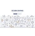 Scuba Diving Doodle Concept vector image
