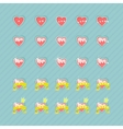 Set of hearts and levels vector image