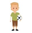 boy holding soccer ball icon vector image