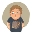 Cartoon boy ashamed in cute t-shirt vector image