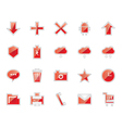 Elegant red basic icons vector image vector image