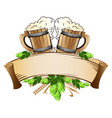 wooden beer mugs still life vector image