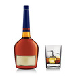 bottle and whiskey in glass vector image