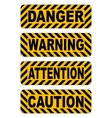 caution warning attention danger text stickers vector image
