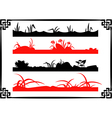 Collection of Chinese Garden Silhouettes vector image