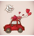 Doodle Card Valentines Day with Red Car vector image