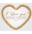 Heart shaped rope on white background vector image