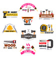 icons set carpentry construction work tools vector image