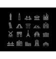 International landmark simple line art icon set vector image