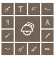 set of 13 editable tools outline icons includes vector image