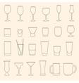 Set of linear drinkware on beige background vector image