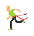 teen boy running to the finish line first active vector image