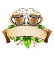 wooden beer mugs still life vector image