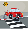 A red car bumping the signage near the pedestrian vector image vector image
