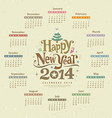 Calendar happy new year 2014 text design vector image