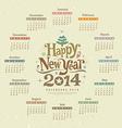 Calendar happy new year 2014 text design vector image