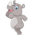 Cartoon happy rhino posing isolated vector image