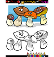 cartoon mushrooms for coloring book vector image
