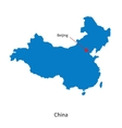 Detailed map of China and capital city Beijing vector image
