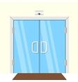 Flat of transparent glass door vector image