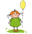 funny girl with balloon vector image
